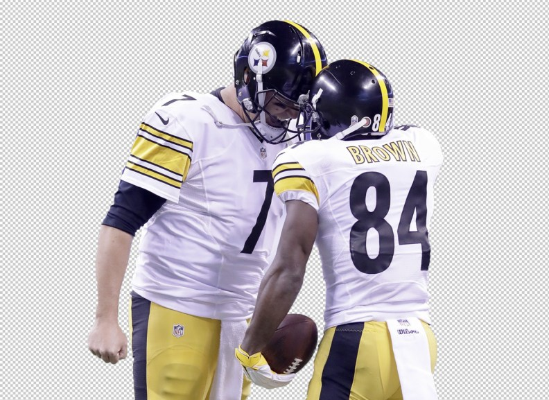 The players Ben Roethlisberger and Antonio Brown have been cropped out from the original picture.