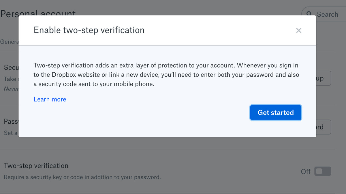 Dropbox also lets you use a text or authenticator app.