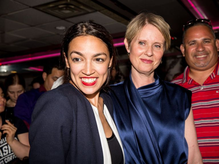 Alexandria Ocasio-Cortez is joined by New York gubernatorial candidate Cynthia Nixon at her victory party in the Bronx.