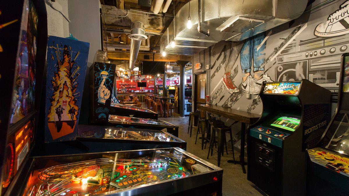 Inside Ready Player One Downtowns Basement Arcade Bar