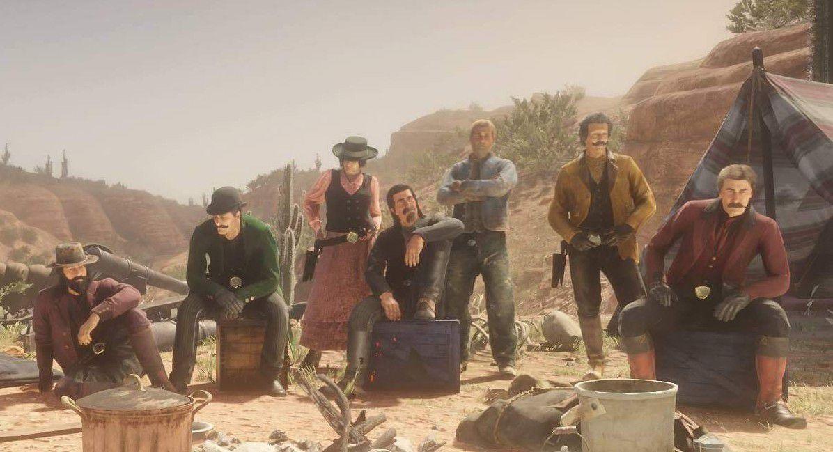Red Dead Online - jugadores reunidos en un campamento
