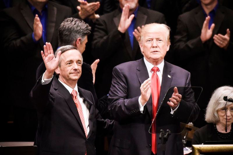 President Trump and Robert Jeffress, pastor of First Baptist Dallas Church in Texas, participate in the Celebrate Freedom Rally at the John F. Kennedy Center for the Performing Arts on July 1, 2017 in Washington, DC. Jeffress was a vocal supporter of Kava