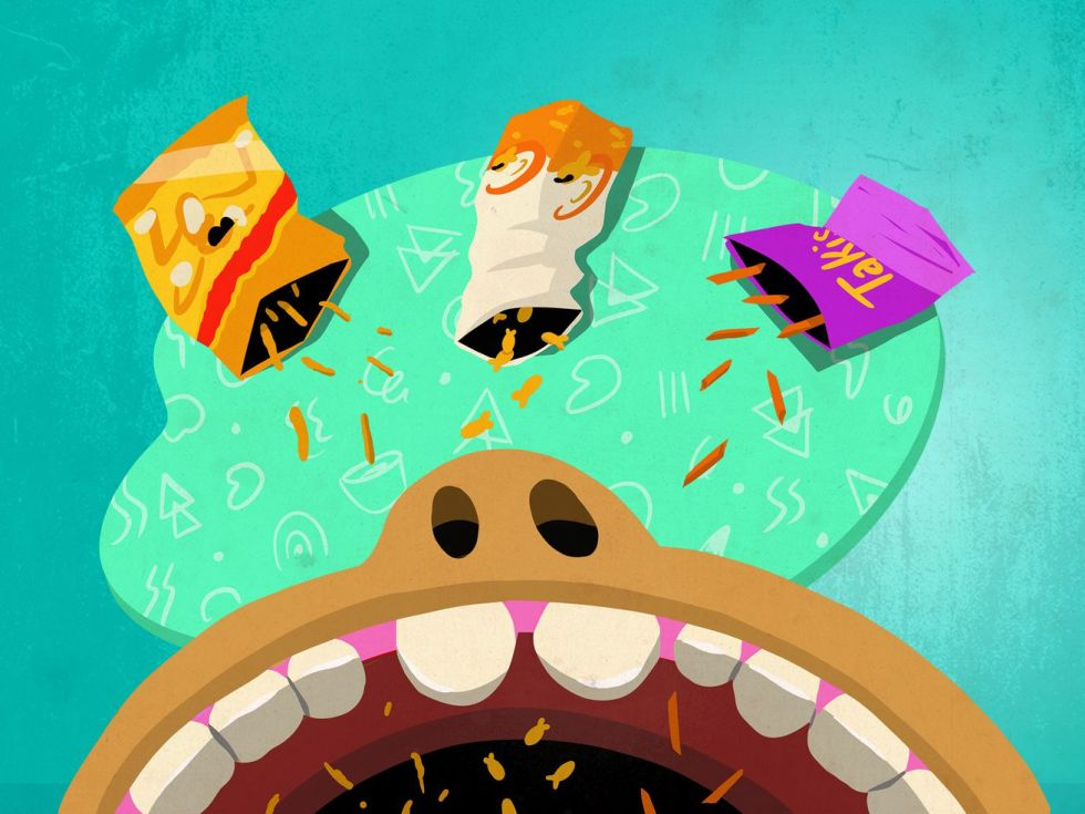 Illustration of three bags of snacks (Takis, Cheetos, and Goldfish) falling into a child's open mouth.