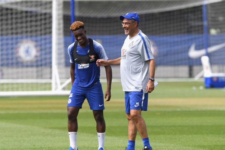 Image result for images for Callum hudson odoi and sarri  Chelsea boss Maurizio Sarri sends one more warning to this want-away player GettyImages 1000195936