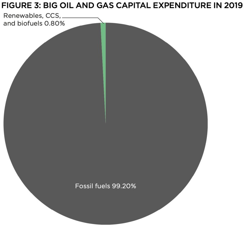 A pie chart showing oil and gas investments in 2019. Fossil fuels account for 99.20 percent.