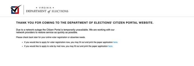Screenshot of error message on Virginia's voter registration website