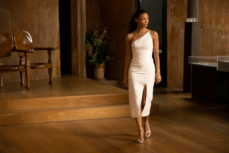 Maeve in the real world with a real white dress in Westworld season 3