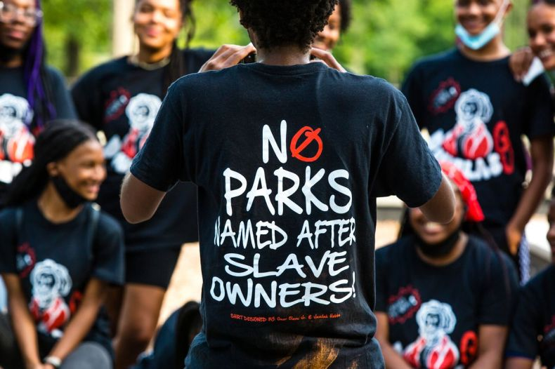 Members of the Change the Name campaign which was created by students at the Village Leadership Academy, Douglas Park, Saturday, August 15th, 2020. | James Foster/For the Sun-Times