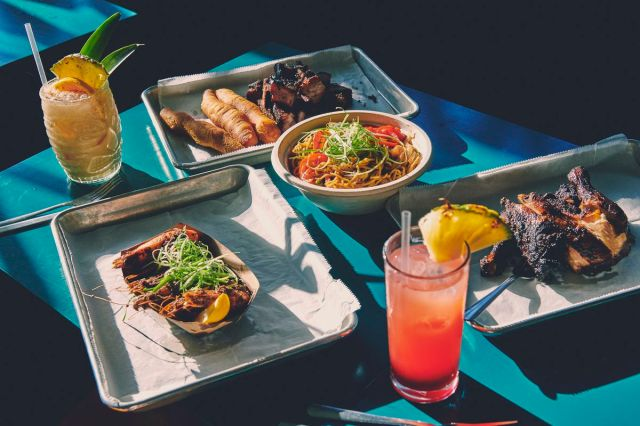 Jerk shrimp (bottom left) and a spread of fare at Glady's Jerk Center