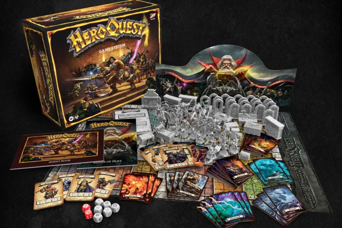 The contents of the basic HeroQuest bundle, including dice, cards, a game master's screen, and dozens of plastic miniatures.