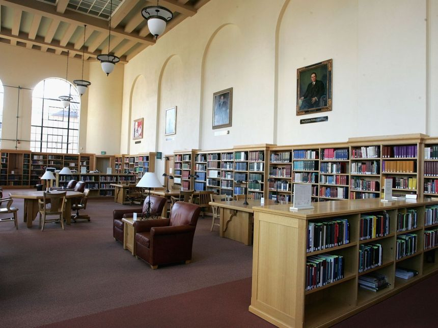 The Cecil H. Green Library on the Stanford University Campus, 2004.