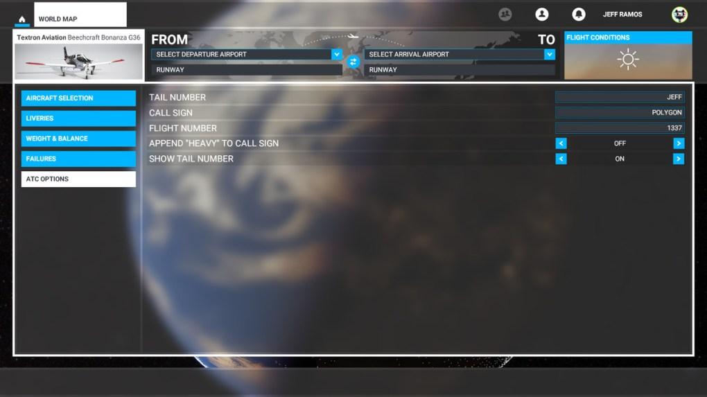 Các tùy chọn ATC trong Microsoft Flight Simulator