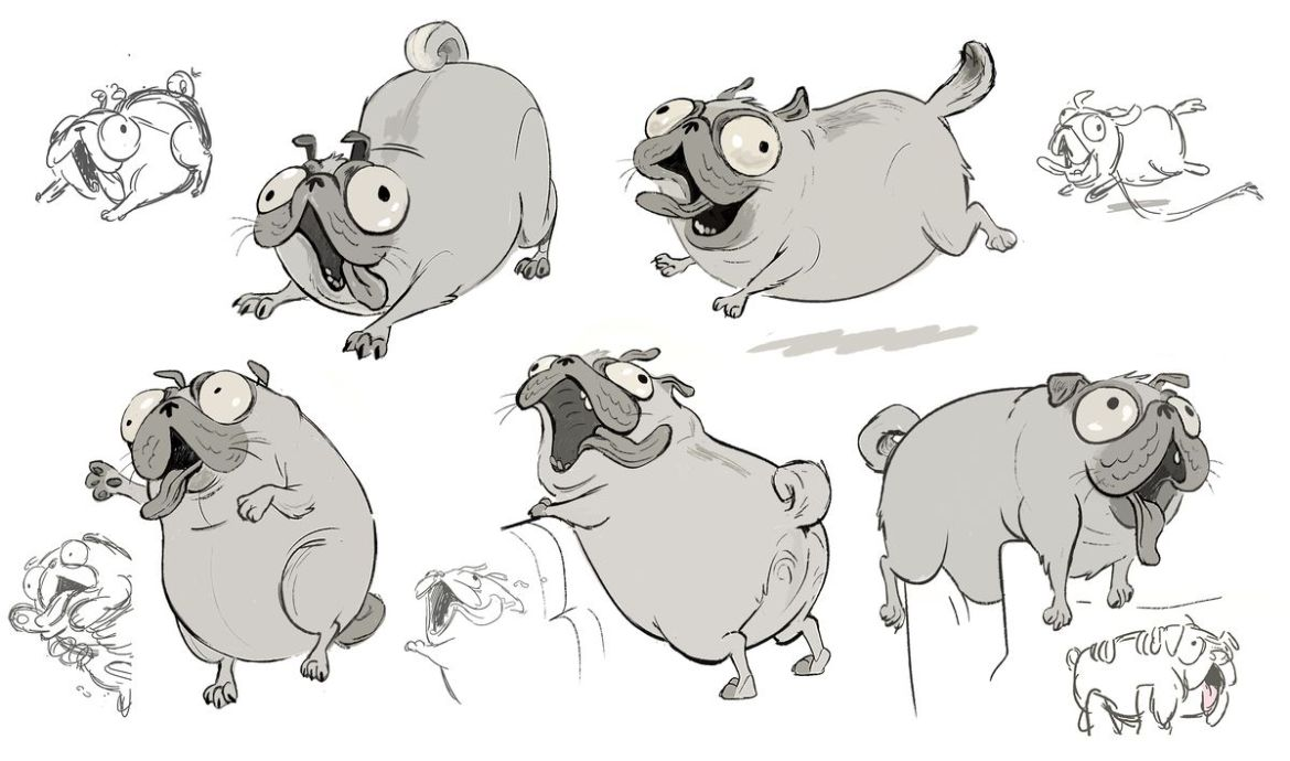 A series of mostly grayscale development sketches of Monchi the pug running, draped over seats, and playing