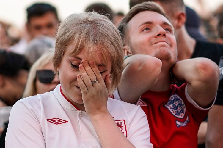 Football Fans Gather To Watch England Play Croatia For A Place In The World Cup Final