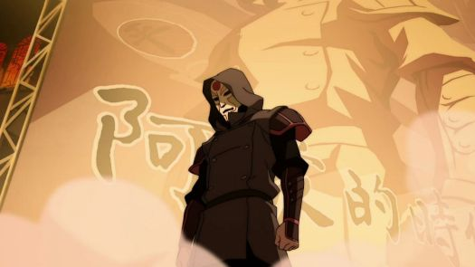 amon standing in front of an amon rally poster in legend of korra book 1 endgame