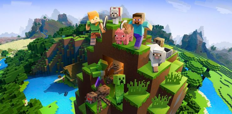 Minecraft art work involving Steve, Alex, Pig, Creeper and more on the open mountain.
