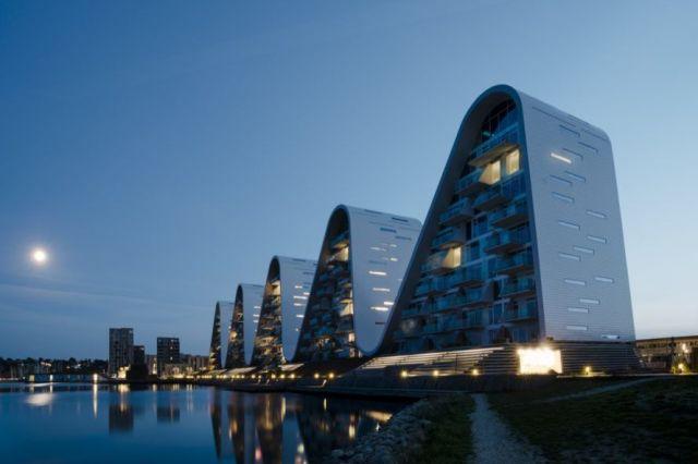 Wave shaped building at dusk