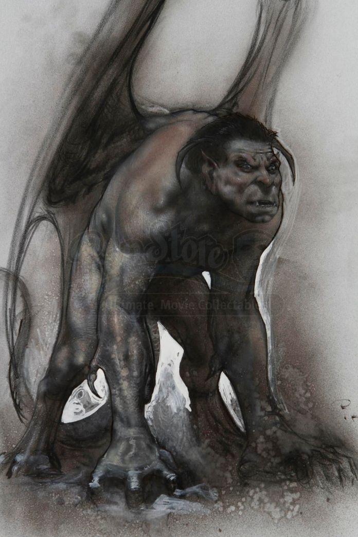 A charcoal sketch of a beasty gargoyle