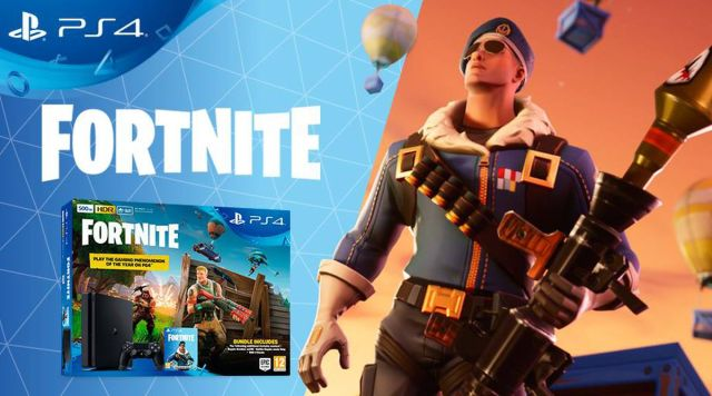 Fortnite bundle ad screenshot, including console packaging and skin.