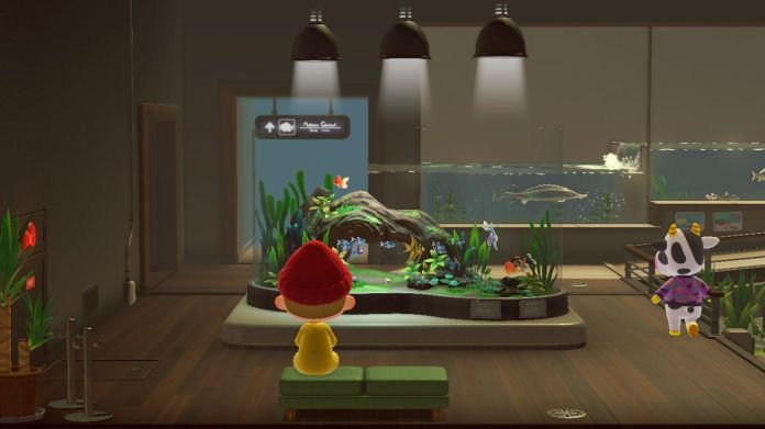 A villager sits on a bench in the aquarium wing of the museum from Animal Crossing: New Horizons
