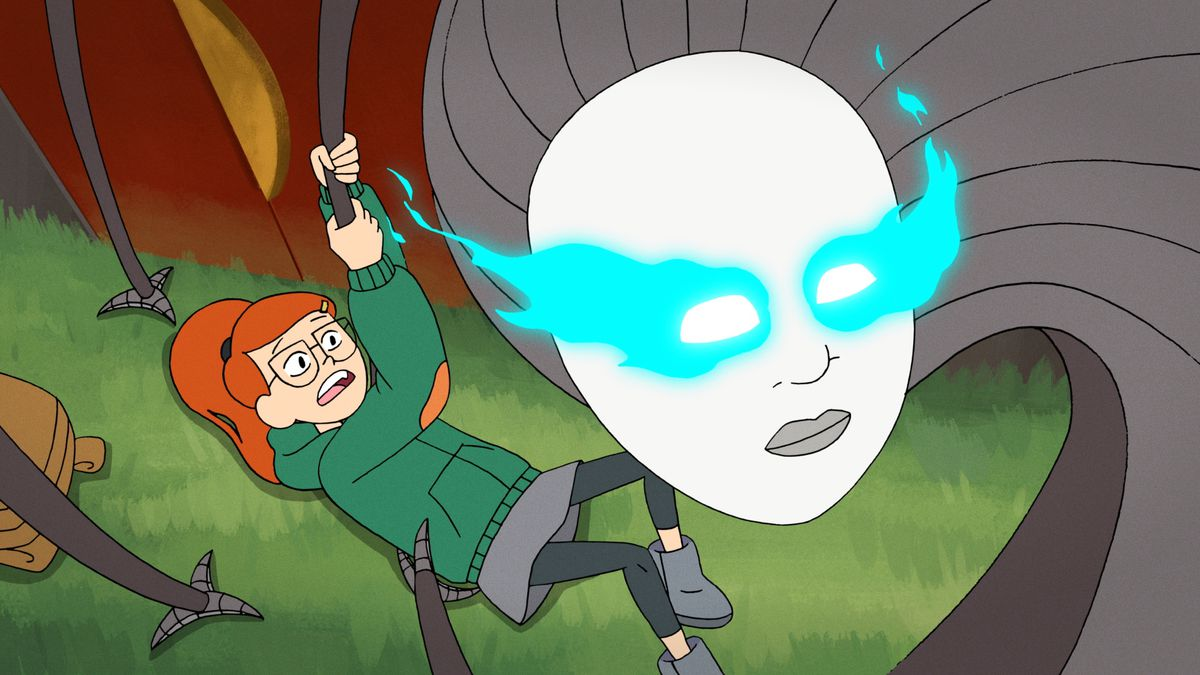 A robot with tentacle claws tries to hold down a young girl in Infinity Train