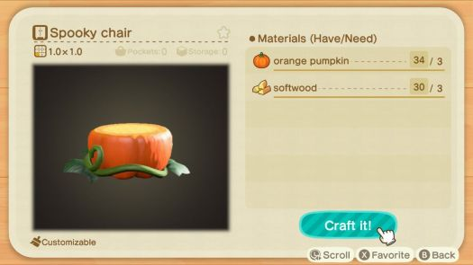 An Animal Crossing recipe for a Spooky Chair