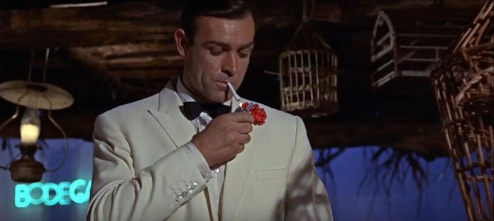 Sean Connery as James Bond in a screenshot from Goldfinger