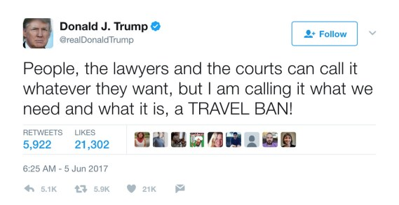 Image result for trump travel ban tweets