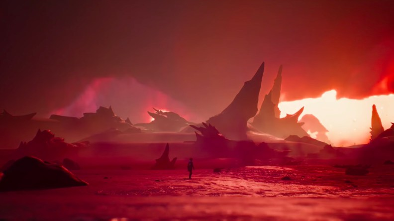 "A screenshot of a climactic moment that finds Captain Spirit on a red, desert-like ""planet"" where his enemy Mantroid lives."