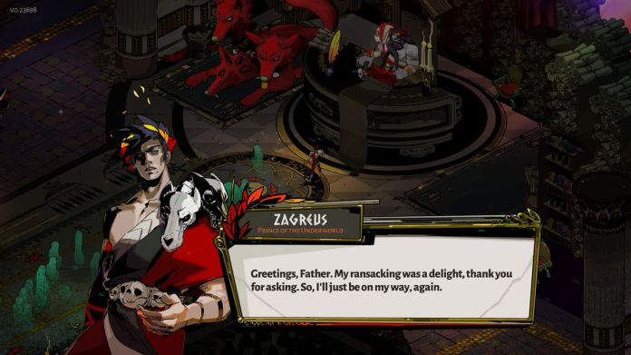 Zagreus and Hades trade wits in Hades