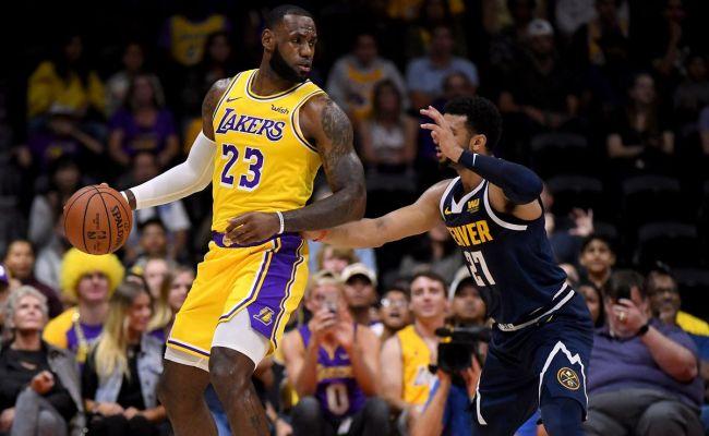 Lakers Vs Nuggets Final Score Hot Shooting Nuggets Spoil Lebron James Lakers Debut 124 107