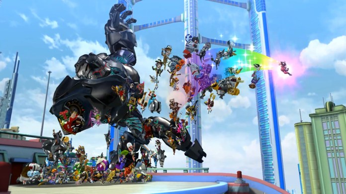 A collection of heroes fling themselves upon an evil robot
