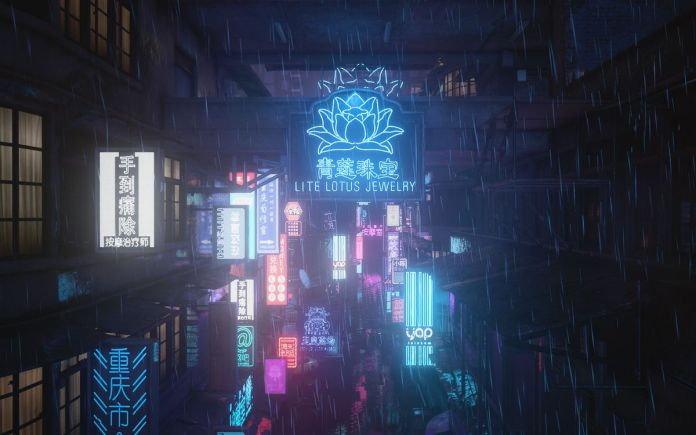 """a Hitman 3 screenshot from Chongqing showing a number of neon store signs, including one saying """"Lite Lotus Jewelry"""""""