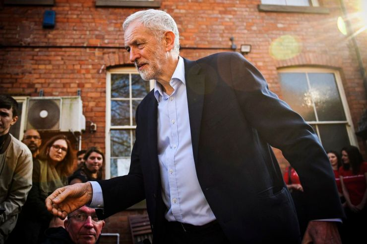 Opposition Labour party leader Jeremy Corbyn addresses a rally in Broxtowe, central England, where former Conservative member of parliament, Anna Soubry, has recently resigned to join an Independent Group of MPs, on February 23, 2019.
