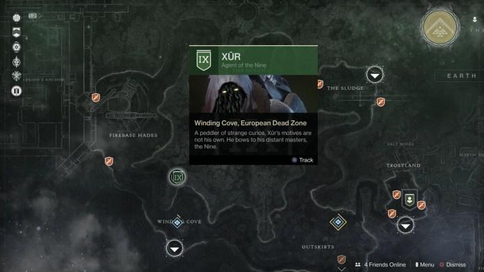 Xur in the EDZ in Destiny 2