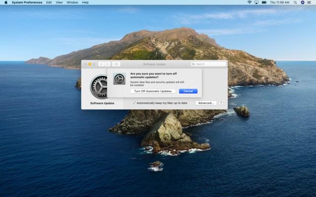 Popup-Fenster zum Deaktivieren der automatischen Updates