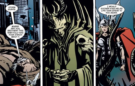 Thor (transformed into a woman) confronts a robed Loki, with bony horns and many spikes and protuberances in Earth X #5 (1999).