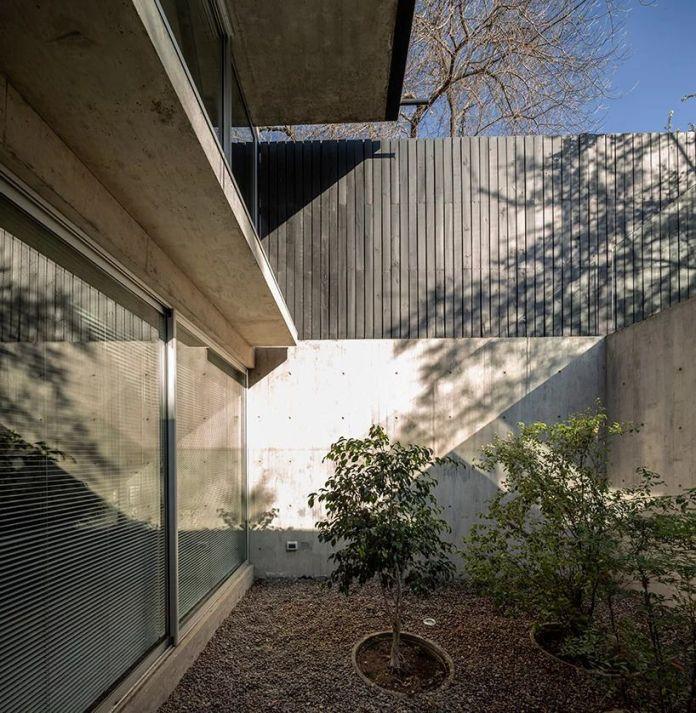 В заполненном светом внутреннем дворе, куда можно попасть с цокольного этажа дома, есть несколько деревьев.