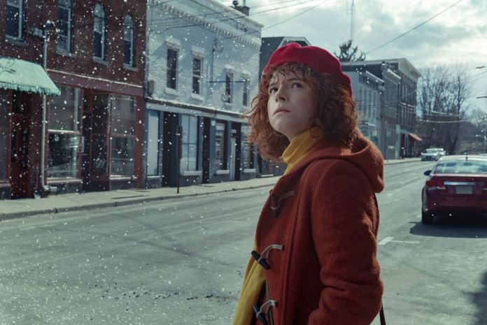 Jessie Buckley as the young woman in I'm Thinking of Ending Things