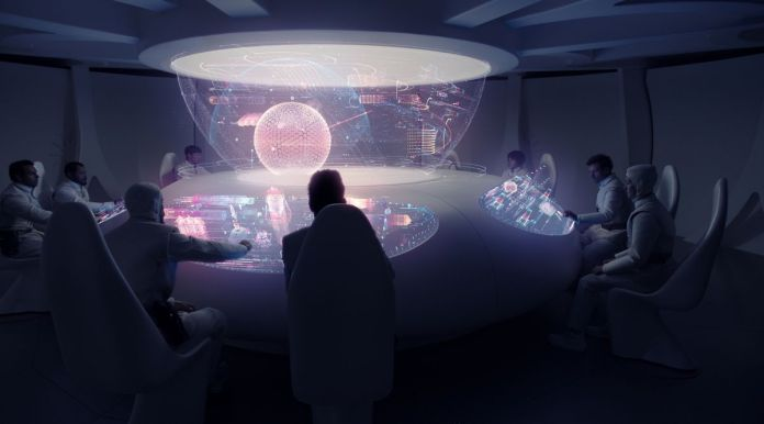 A group of people sit in a dark room surrounded by high-tech virtual neon AR displays in Raised By Wolves.