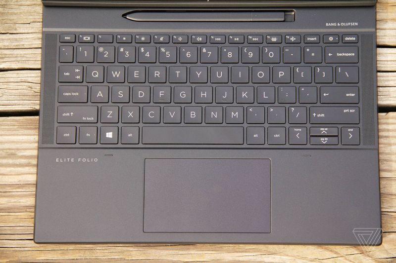 La tastiera HP Elite Folio vista dall'alto.
