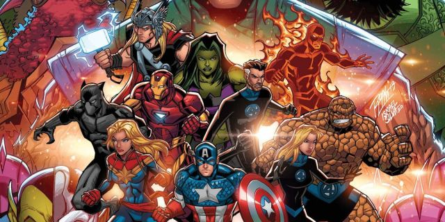 The Avengers and the Fantastic four square off against their foes on the cover of Empyre Handbook #1, Marvel Comics (2020).