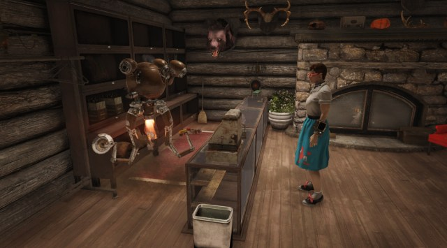 Fallout 76 - a player stands in front of a vendor to make a transaction.