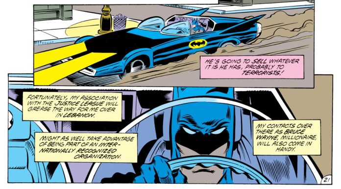 Batman drives down the streets of Gotham. The Batmobile is a customized muscle car with twin fins, an open roof, and twin half-bubble windshields for each seat, in Batman #426, DC Comics (1988).