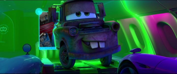 a rusty tow truck with a face, with a green glow around him