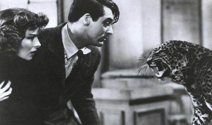 Katharine Hepburn and Carey Grant stare down a leopard
