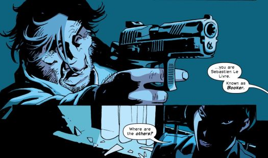 """Booker points a gun at Noriko in The Old Guard: Force Multiplied #1, Image Comics (2020). """"You are Sebastien Le Livre. Known as Booker,"""" she says, """"Where are the others?"""""""