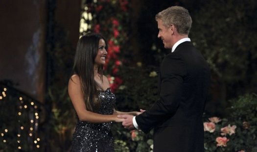 Catherine greets Sean outside the Bachelor mansion