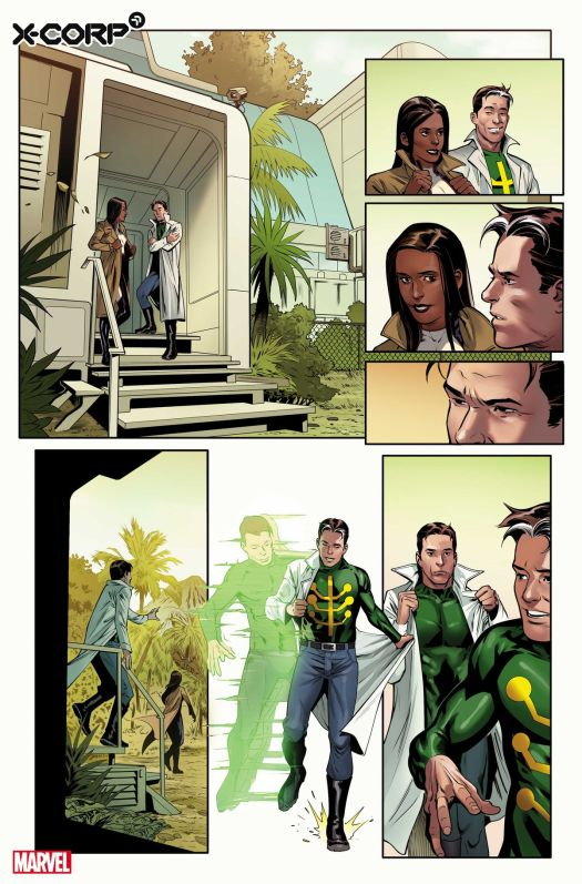 Monet St. Croix meets with Jamie Madrox, the Multiple Man in preview art for X-Corp #1 , Marvel Comics (2021)