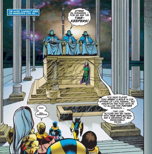 The Avengers approach the robed figures of hte three Time Keepers as the sit on a high dais, attended by Immortus.